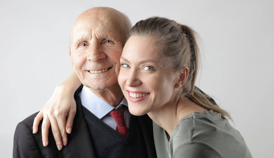 Retired man and young woman
